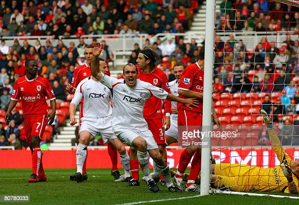 Bolton goalscorer Gavin McCann celebrates after giving Bolton the lead during the Barclays Premier League Match between Middlesbrough and Bolton...