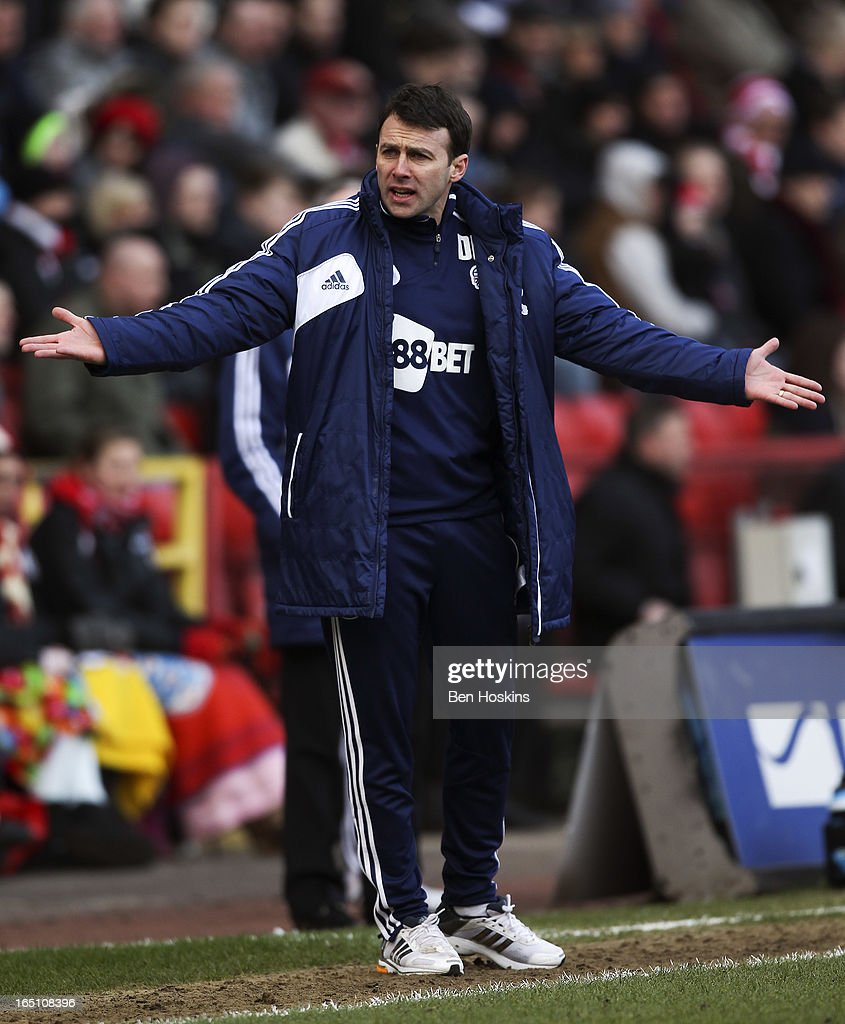 Bolton manager Dougie Freedman gestures during the npower Championship match between Charlton Athletic and Bolton Wanderers at the Valley on March 30, 2013 in London, England.