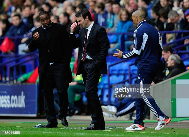 Bolton manager Dougie Freedman reacts during the npower Championship match between Bolton Wanderers and Blackpool at Reebok Stadium on May 4, 2013 in...