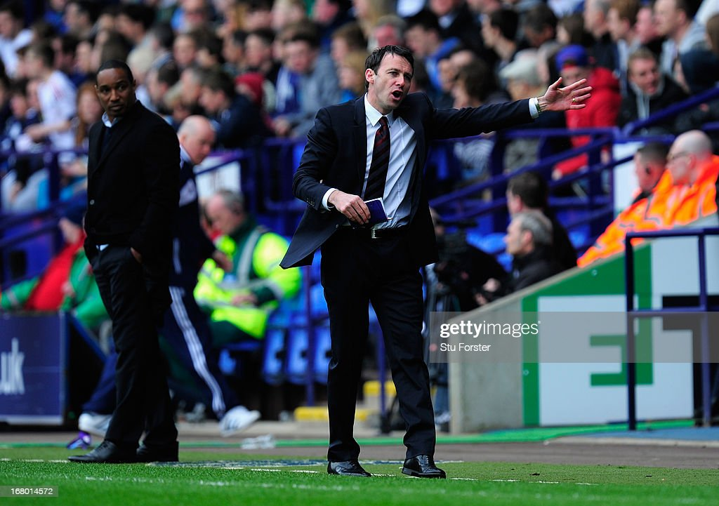 Bolton manager Dougie Freedman reacts during the npower Championship match between Bolton Wanderers and Blackpool at Reebok Stadium on May 4, 2013 in Bolton, England.