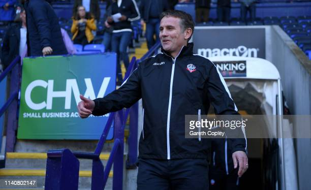 Bolton Manager Phil Parkinson during the Sky Bet Championship match between Bolton Wanderers and Ipswich Town at Macron Stadium on April 06 2019 in...