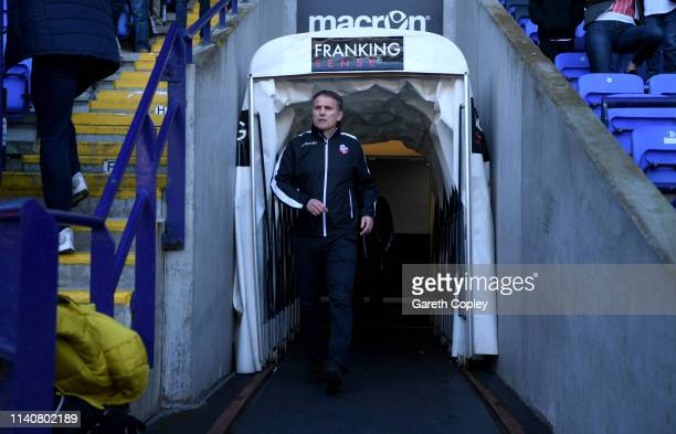 Bolton Manager Phil Parkinson during the Sky Bet Championship match between Bolton Wanderers and Ipswich Town at Macron Stadium on April 06, 2019 in...