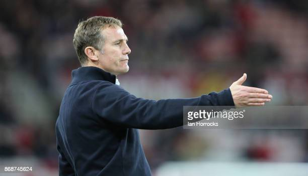 Bolton manager Phil Parkinson during the Sky Bet Championship match between Sunderland and Bolton Wanderers at Stadium of Light on October 31 2017 in...