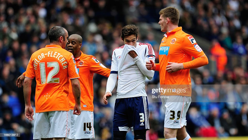 Bolton player Marcos Alonso (c) reacts during the npower Championship match between Bolton Wanderers and Blackpool at Reebok Stadium on May 4, 2013 in Bolton, England.