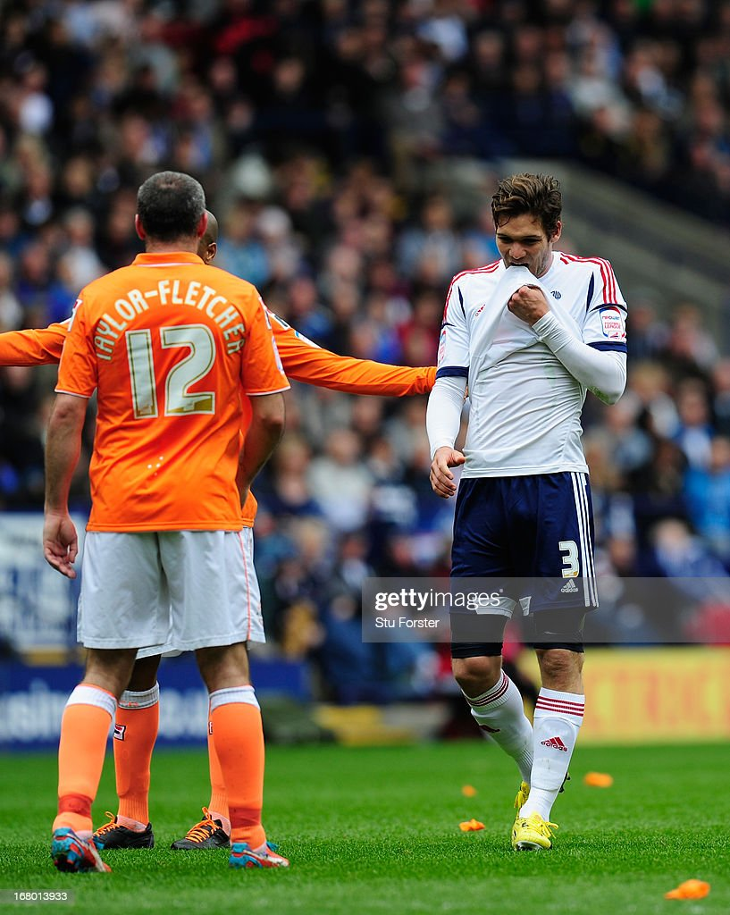 Bolton player Marcos Alonso (r) reacts during the npower Championship match between Bolton Wanderers and Blackpool at Reebok Stadium on May 4, 2013 in Bolton, England.