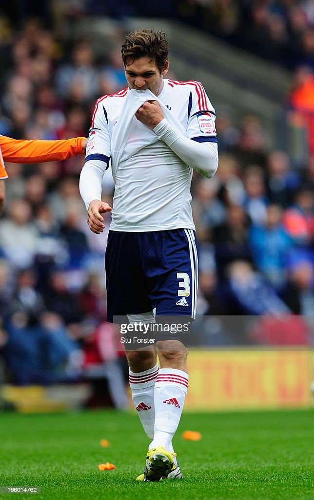 Bolton player Marcos Alonso reacts during the npower Championship match between Bolton Wanderers and Blackpool at Reebok Stadium on May 4, 2013 in Bolton, England.