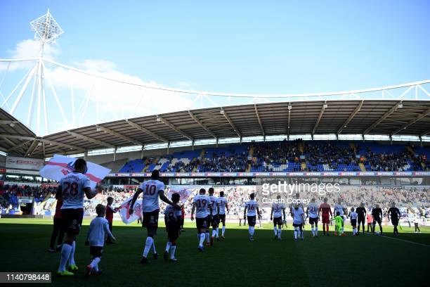 Bolton players walk out ahead of the Sky Bet Championship match between Bolton Wanderers and Ipswich Town at Macron Stadium on April 06 2019 in...