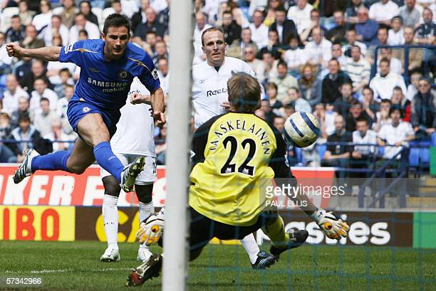 Bolton, UNITED KINGDOM: Chelsea's Frank Lampard scores the scond goal against Bolton Wanderers during their English Premiership football match at The...