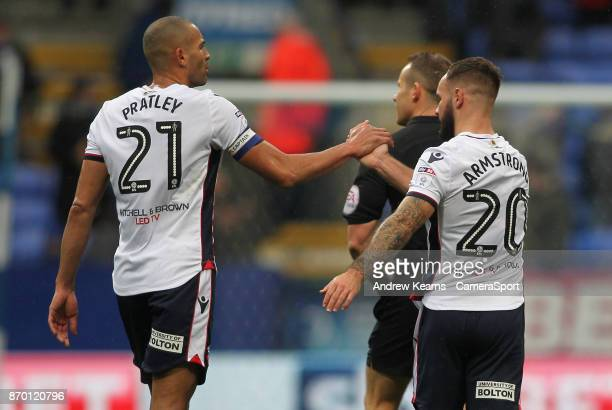 Bolton Wanderers' Adam Armstrong celebrates scoring his side's second goal during the Sky Bet Championship match between Bolton Wanderers and Norwich...