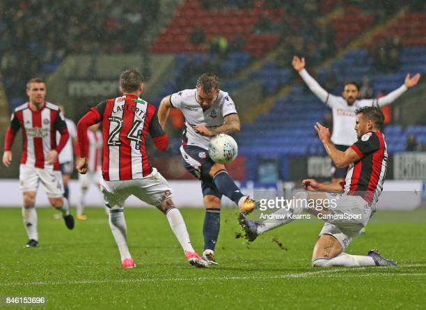 Bolton Wanderers' Adam Armstrong during the Sky Bet Championship match between Bolton Wanderers and Sheffield United at Macron Stadium on September...