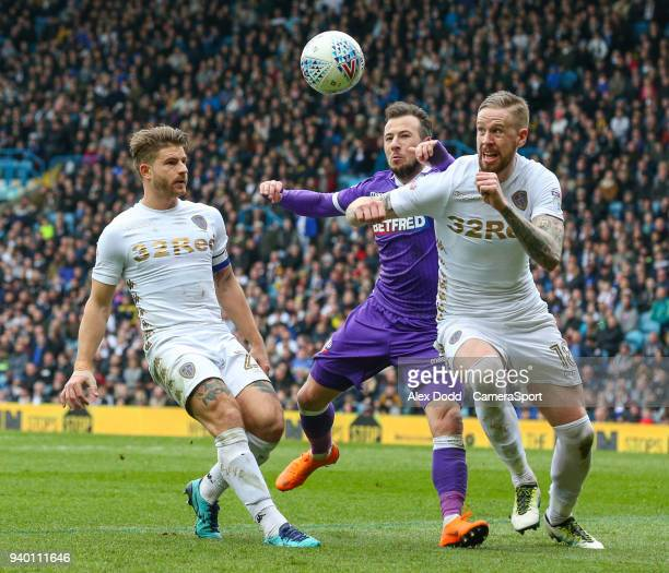 Bolton Wanderers' Adam Le Fondre vies for possession with Leeds United's Gaetano Berardi and Pontus Jansson during the Sky Bet Championship match...