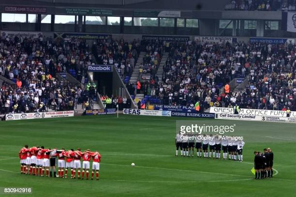 Bolton Wanderers and Charlton Athletic players stand for minute silence in memory of Holly Wells and Jessica Chapman during their FA Barclaycard...