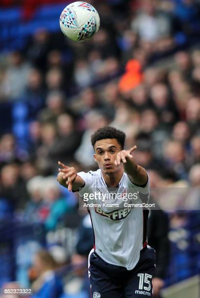 Bolton Wanderers' Antonee Robinson takes a throw in during the Sky Bet Championship match between Bolton Wanderers and Brentford at Macron Stadium on...
