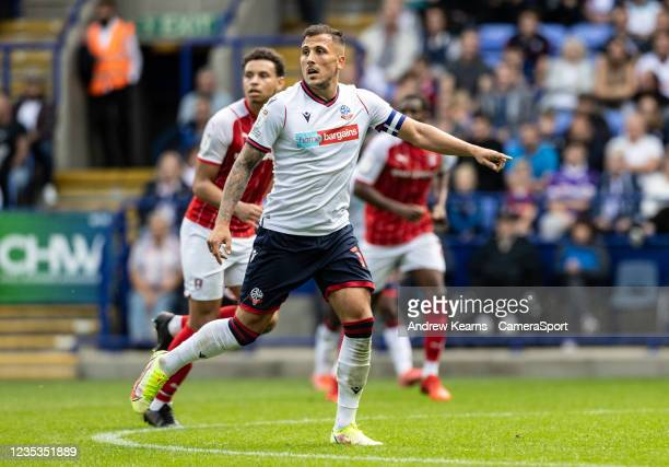 Bolton Wanderers' Antoni Sarcevic points to where he wants the ball played during the Sky Bet League One match between Bolton Wanderers and Rotherham...