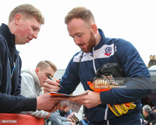Bolton Wanderers' Ben Alnwick gets off the coach outside Griffin Park during the Sky Bet Championship match between Brentford and Bolton Wanderers at...