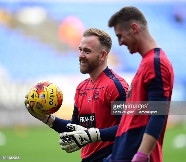 Bolton Wanderers' Ben Alnwick left and Bolton Wanderers' Jake Turner during the prematch warmup before the Sky Bet League One match between Bolton...