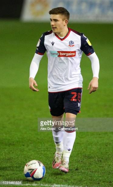 Bolton Wanderers' Declan John during the Sky Bet League Two match between Oldham Athletic and Bolton Wanderers at Boundary Park on March 2, 2021 in...