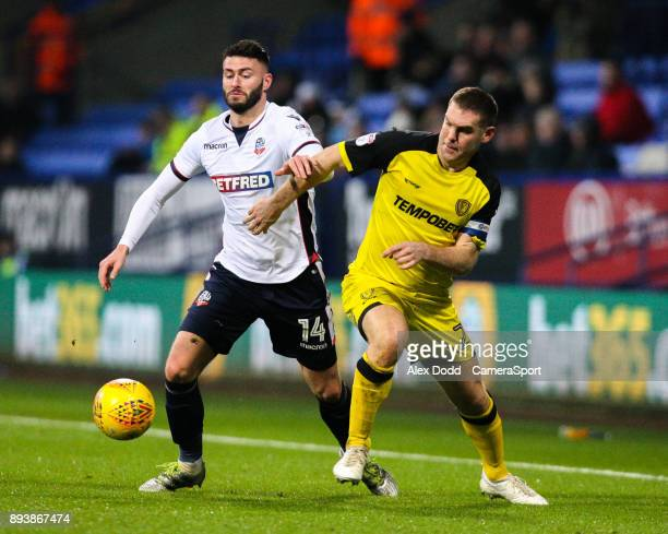 Bolton Wanderers' Gary Madine battles with Burton Albion's Jake Buxton during the Sky Bet Championship match between Bolton Wanderers and Burton...