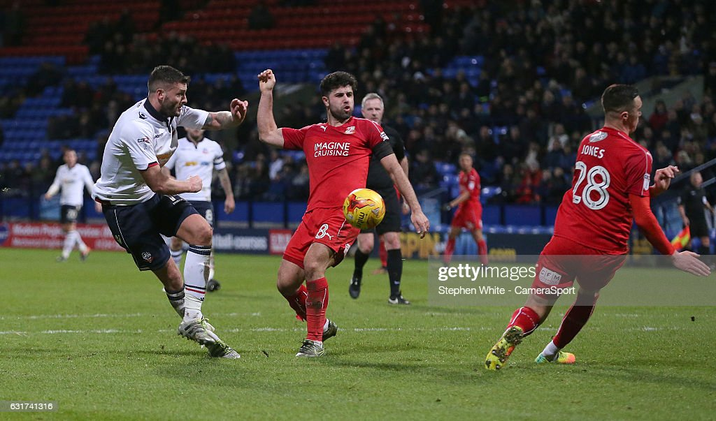 Bolton Wanderers' Gary Madine sees his shot rebound of Swindon Town's Lloyd Jones during the Sky Bet League One match between Bolton Wanderers and Swindon Town at Macron Stadium on January 14, 2017 in Bolton, England.