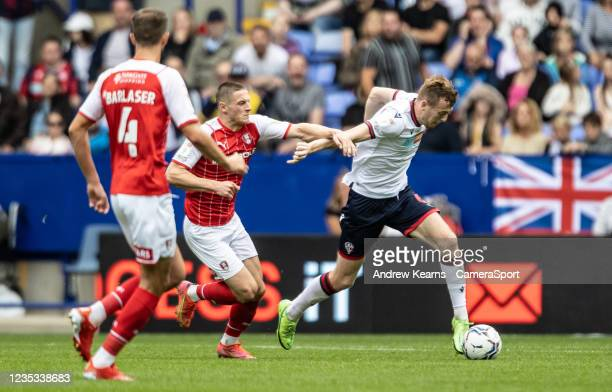Bolton Wanderers' George Johnston breaks out of defence during the Sky Bet League One match between Bolton Wanderers and Rotherham United at...