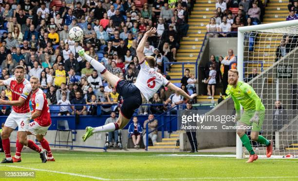 Bolton Wanderers' George Johnston shoots at goal during the Sky Bet League One match between Bolton Wanderers and Rotherham United at University of...
