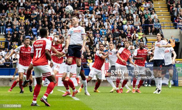 Bolton Wanderers' Gethin Jones attacking a corner kick during the Sky Bet League One match between Bolton Wanderers and Rotherham United at...