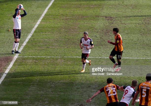 Bolton Wanderers' Gethin Jones takes a throw in during the Sky Bet League Two match between Bradford City and Bolton Wanderers at Northern...