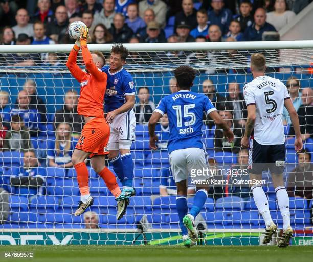 Bolton Wanderers' goalkeeper Ben Alnwick saves under pressure during the Sky Bet Championship match between Ipswich Town and Bolton Wanderers at...