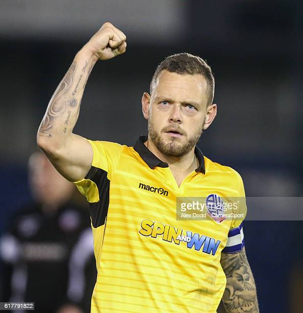 Bolton Wanderers' Jay Spearing celebrates after the final whistle during the Sky Bet League One match between Bury and Bolton Wanderers at Gigg Lane...