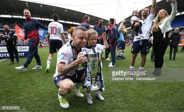 Bolton Wanderers' Jay Spearing poses with trophy during the Sky Bet League One match between Bolton Wanderers and Peterborough United at Macron...