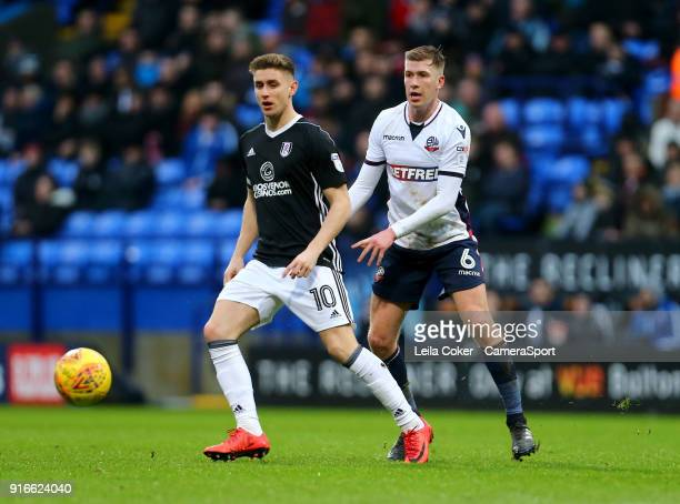 Bolton Wanderers' Josh Vela loses the ball to Tom Cairney during the Sky Bet Championship match between Bolton Wanderers and Fulham at Macron Stadium...