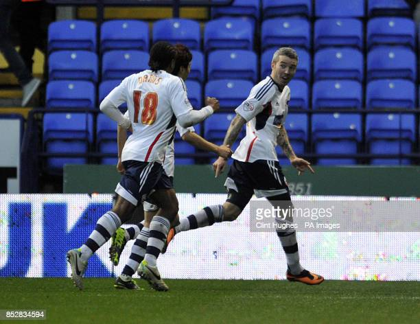 Bolton Wanderers' Kevin McNaughton celebrates after he scores the first goal of the game for his side during the Sky Bet Championship match at the...