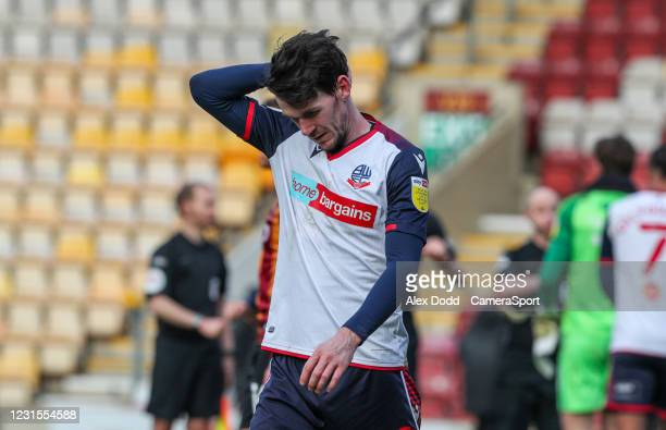 Bolton Wanderers' Kieran Lee leaves the field disgruntled during the Sky Bet League Two match between Bradford City and Bolton Wanderers at Northern...