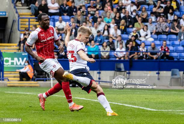 Bolton Wanderers' Lloyd Isgrove shoots at goal during the Sky Bet League One match between Bolton Wanderers and Rotherham United at University of...