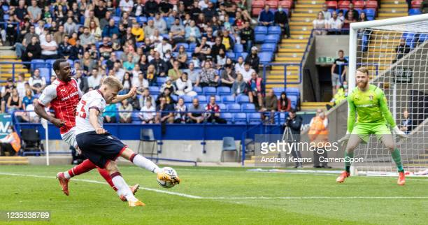 Bolton Wanderers' Lloyd Isgrove shoots at goal from an offside position during the Sky Bet League One match between Bolton Wanderers and Rotherham...