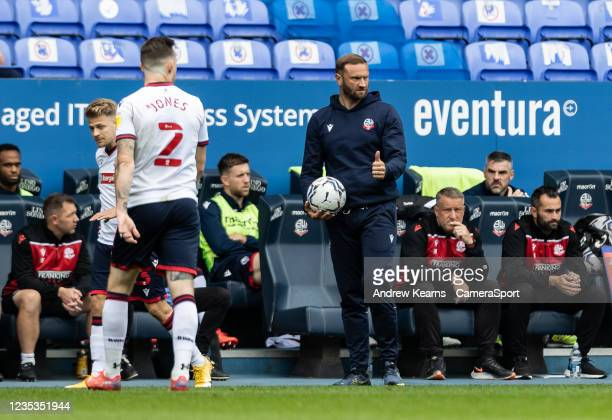 Bolton Wanderers' manager Ian Evatt gives the thumbs up during the Sky Bet League One match between Bolton Wanderers and Rotherham United at...