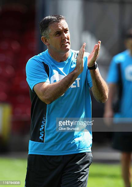 Bolton Wanderers manager Owen Coyle applauds the crowd prior to the pre season friendly match between Bradford City and Bolton Wanderers at Coral...