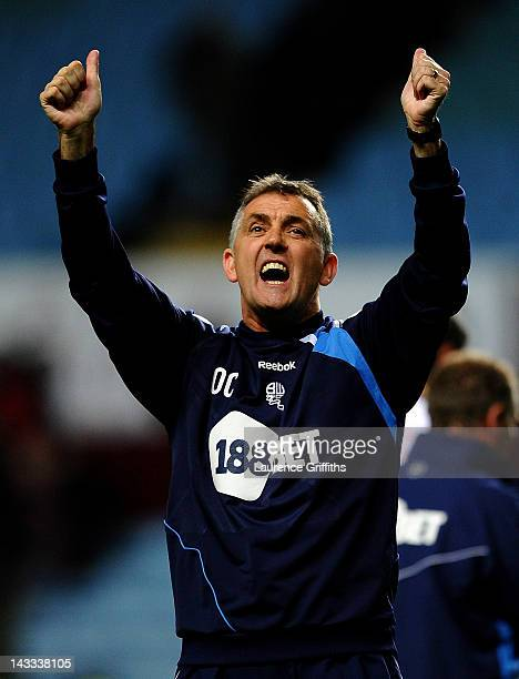 Bolton Wanderers Manager Owen Coyle celebrates at the end of the Barclays Premier League match between Aston Villa and Bolton Wanderers at Villa Park...