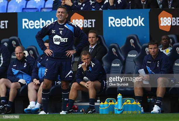 Bolton Wanderers manager Owen Coyle shows his frustration during the Barclays Premier League match between Bolton Wanderers and Norwich City at...