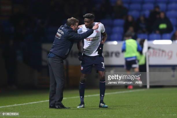 Bolton Wanderers manager Phil Parkinson and Sammy Ameobi of Bolton Wanderers during the Sky Bet Championship match between Bolton Wanderers and...