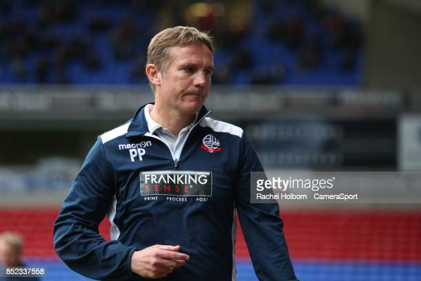 Bolton Wanderers' Manager Phil Parkinson as the final whistle blows during the Sky Bet Championship match between Bolton Wanderers and Brentford at...