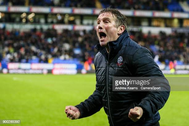 Bolton Wanderers' manager Phil Parkinson celebrates victory at the end of the match during the Sky Bet Championship match between Bolton Wanderers...