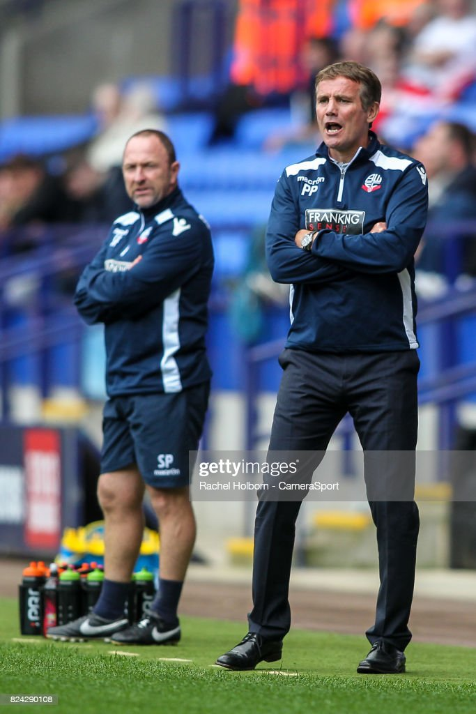 Bolton Wanderers' manager Phil Parkinson during the pre-season friendly match between Bolton Wanderers and Stoke City at Macron Stadium on July 29, 2017 in Bolton, England.