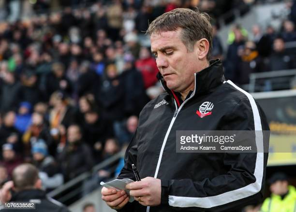 Bolton Wanderers' manager Phil Parkinson during the Sky Bet Championship match between Hull City and Bolton Wanderers at KCOM Stadium on January 1...