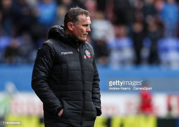 Bolton Wanderers' manager Phil Parkinson during the Sky Bet Championship match between Wigan Athletic and Bolton Wanderers at DW Stadium on March 16...