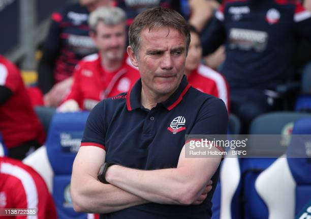 Bolton Wanderers Manager Phil Parkinson during the Sky Bet Championship match between Blackburn Rovers and Bolton Wanderers at Ewood Park on April 22...