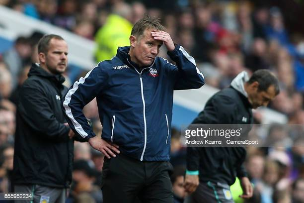 Bolton Wanderers' manager Phil Parkinson during the Sky Bet Championship match between Aston Villa and Bolton Wanderers at Villa Park on September 30...