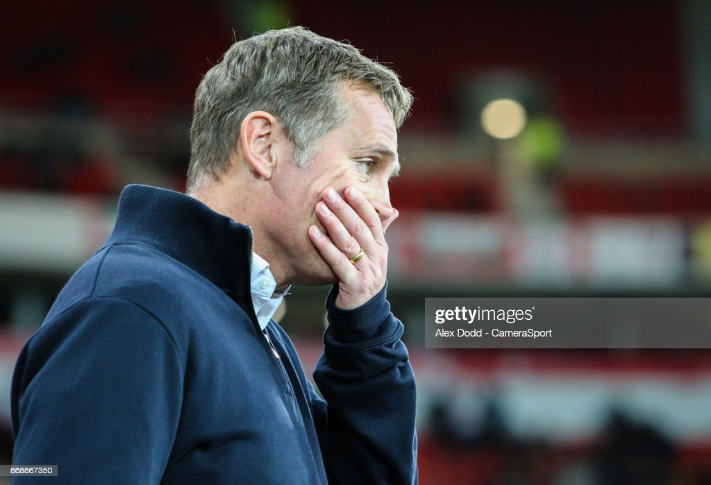 Bolton Wanderers manager Phil Parkinson during the Sky Bet Championship match between Sunderland and Bolton Wanderers at Stadium of Light on October 31, 2017 in Sunderland, England.