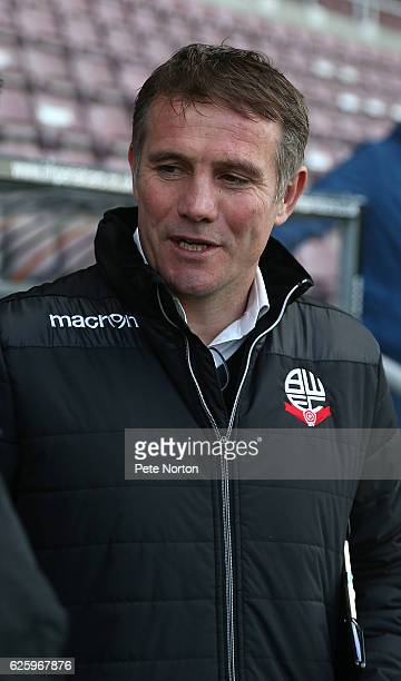 Bolton Wanderers manager Phil Parkinson looks on prior to the Sky Bet League One match between Northampton Town and Bolton Wanderers at Sixfields on...