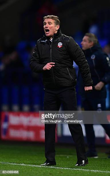 Bolton Wanderers manager Phil Parkinson shouts instructions to his team from the dugout during the Sky Bet League One match between Bolton Wanderers...